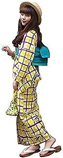 [ 京都きもの町 ] 女性 浴衣単品 サフラン×パープル 格子ツバメLLサイズ