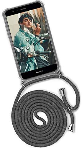 ONEFLOW® Handykette kompatibel mit Huawei P10 Lite - Handyhülle mit Band zum Umhängen Case Abnehmbar Smartphone Necklace - Hülle mit Kette, Dunkel-Grau
