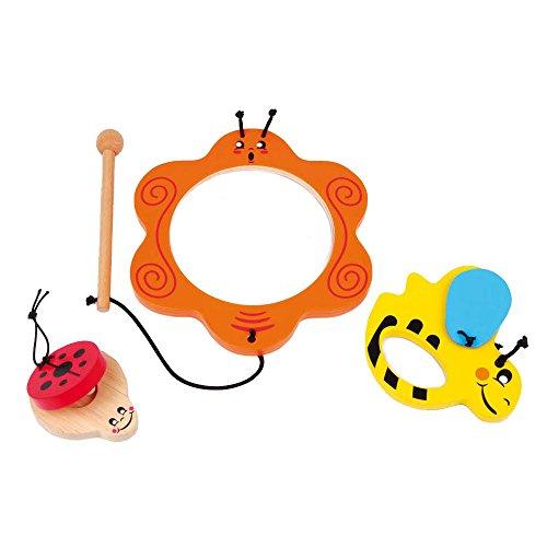Small Foot 8533 Musik-Set Tiere aus Holz, 3-TLG. Set mit Kastagnette, Trommel und Einer klappernden Biene