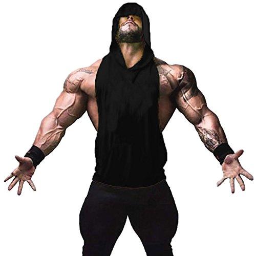 ZUEVI Men's Muscle Sleeveless Hoodies Gym Bodybuilding Stringer Tank Tops (Black-XL)