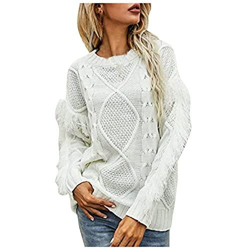 SHIZUANYUE - Sudadera de manga larga para mujer con cuello redondo y manga larga, blusa, suéter de punto extragrande, suéter ligero de punto grueso, cómodo y desenfadado, Blanco, M