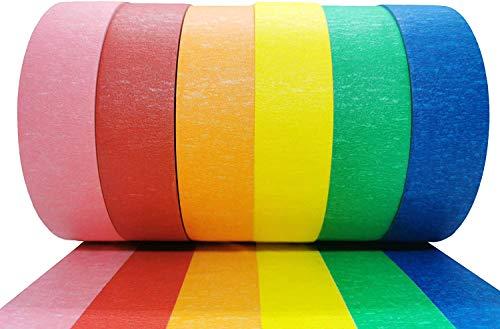 Cinta de Pintar 25m x 25mm KESTKAS 6 colores - Cinta de Carrocero - Removible sin Residuos - Precision - Masking Tape - Pintor - Cinta Adhesiva para Enmascarar Ancha - Cintas para Pintura Manualidades