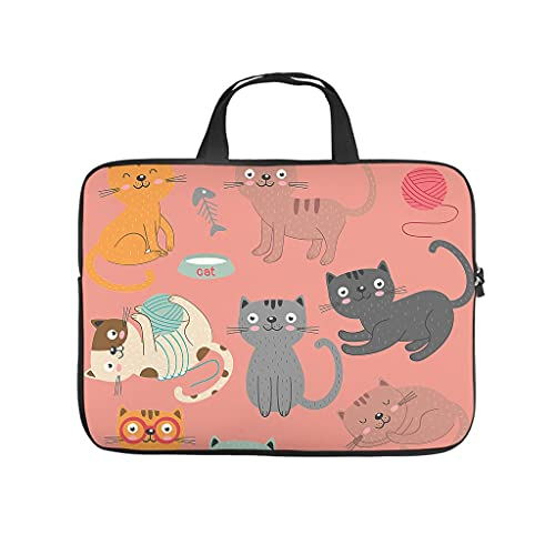 Bolsa para portátil con diseño de dibujos animados y gatos, resistente al desgaste y con patrón para portátil, ideal para el trabajo o el negocio