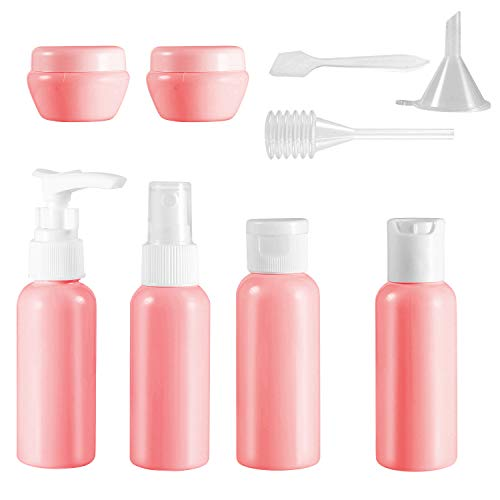 Bottiglie Da Viaggio 10 PACKS, Trasparente e Contenitori di Liquido da Cosmetici,Set flaconi per cosmetici,Accessori per viaggio, Set da viaggio Vacanza,contenitori plastica da viaggio (pink)