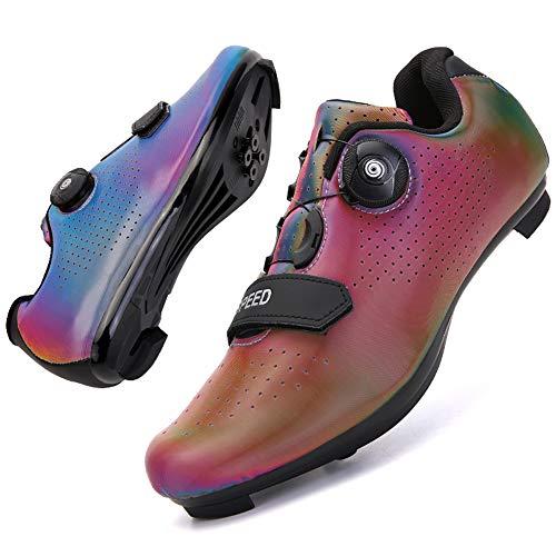 KUXUAN Zapatillas de Ciclismo Cordón de Zapatos Giratorio con Zapatilla Peloton de Cala Compatible con Zapatillas de Bicicleta con Pedal SPD y Delta Lock,Red-6.5UK=(250mm)=40EU