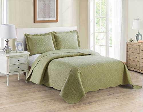 Home Collection 3pc Full/Queen Over Size Luxury Embossed Bedspread Set Light Weight Solid Sage Green New