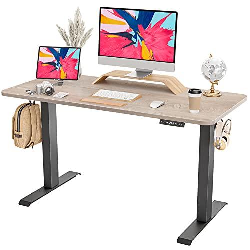 FAMISKY Standing Desk Dual Motors, Adjustable Height Electric Stand up Desk, 48 x 24 Inches Sit Stand Home Office Desk, Ergonomic Workstation Black Steel Frame/Oak Wood Grain Tabletop