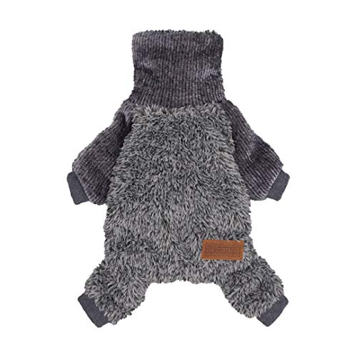 Fitwarm Fuzzy Thermal Turtleneck Dog Clothes Winter Outfits Pet Jumpsuits Cat Coats Velvet Grey Chihuahua Yorkie(S, Grey)
