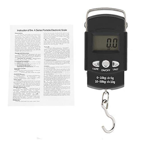 Apagado automático en 60 Segundos, indicador de sobrecarga/batería Baja, balanza electrónica LCD, balanza Digital, 50 kg / 10 g para Pesar Equipaje, Verduras, Frutas exprés