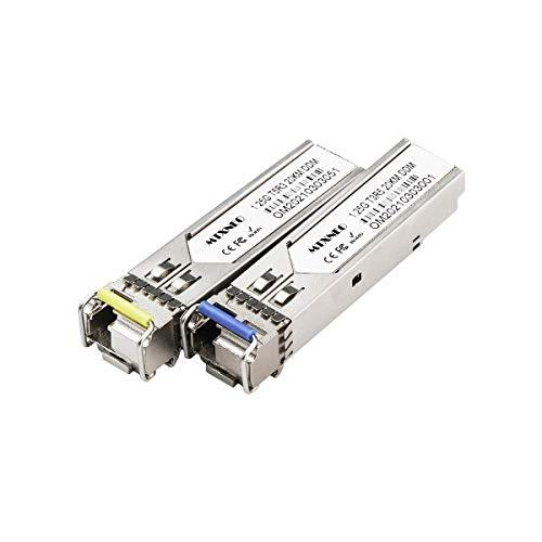 Un par de transceptores SFP 1.25G Bidi Single Fibre Transceptor 1310 nm/1550 nm SMF LC hasta 20 km para interruptores abiertos.