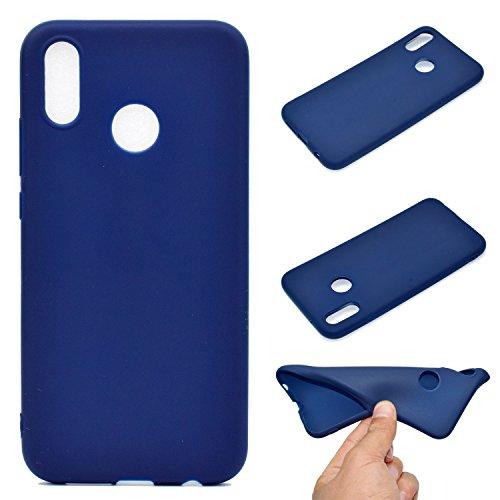 LeviDo Coque Compatible pour Huawei P20 Lite Étui Silicone Souple Bumper Antichoc TPU Gel Ultra Fine Mince Caoutchouc Bonbons Couleurs Design Etui Cover, Bleu Foncé