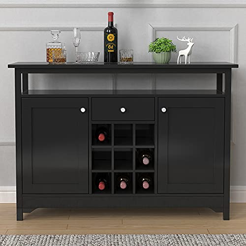 Retro Black Sideboard with 9 Wine Rack for Living Room/Kitchen, Storage Cabinet with Drawer and Shelf, Console Table for Hallway, Farmhouse Storage Cupboard Buffet for Dining Room Multifunctional