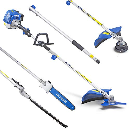 Hyundai Multi-Functional 5 in 1 Petrol Garden Multi-Tool Set, HYMT5200X, 52CC, Grass Trimmer, Hedge Trimmer, Pruner Chainsaw, Brushcutter, Extension Pole, Multitool Complete Gardening System, 3 Year W