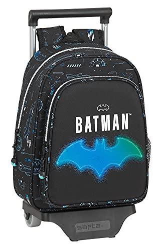 Safta Mochila Infantil de Batman Bat-Tech con Carro 705, 270x100x330 mm, Negro
