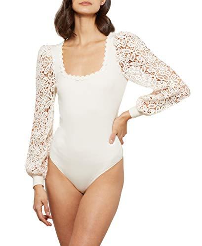 BCBGMAXAZRIA Women's Long Sleeved Bodysuit, Sea Salt, X-Large