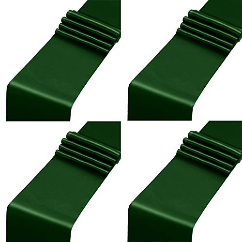 Aneco 4 Pack Satin Table Runner 12 x 108Inch Long Bright Silk and Smooth Fabric Party Table Runner for Wedding Banquet Party Decoration- Forest Green