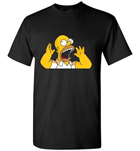 Scared and Surprised Homer Simpson T-Shirt Customized