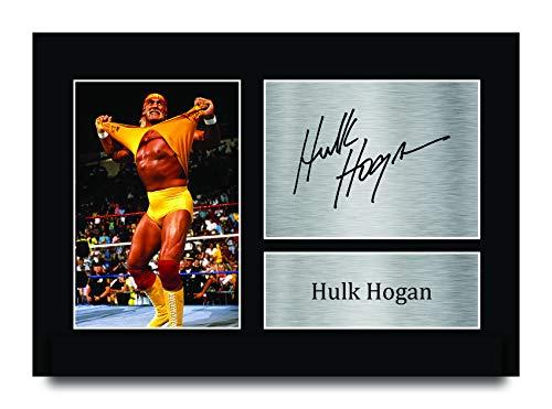 HWC Trading Hulk Hogan A4 Sin Marco Regalo De Visualizacin De Fotos De Impresin De Imagen Impresa Autgrafo Firmado por WWE WWF Fanticos De La Lucha