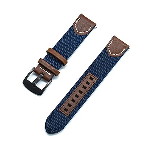 20/22mm Bandas de liberación rápida de pulsera con hebilla Negro, Azul marino, 22mm