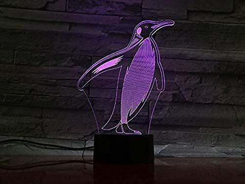3D Luz De Noche Led Lámparas de decoración Pingüino Piezas Pingüino ideal como regalo de cumpleaños para niños, niños y hombres Con interfaz USB, cambio de color colorido