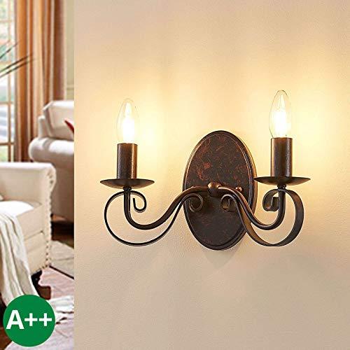 Lucande Wandleuchte, Wandlampe Innen 'Caleb' dimmbar (Landhaus, Vintage, Rustikal) in Braun aus Metall u.a. für Flur & Treppenhaus (2 flammig, E14, A++) - Wandstrahler, Wandbeleuchtung Schlafzimmer /