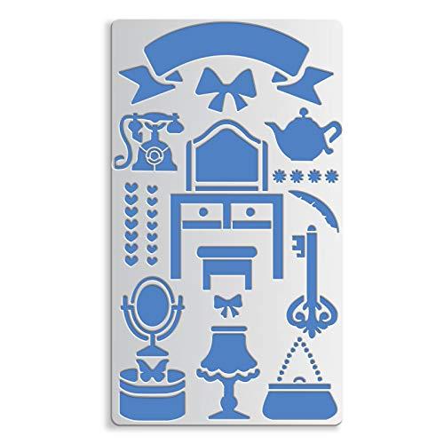 BENECREAT 17.5x10cm Home Theme Metall schablonen, Tisch, Stuhl, Teekanne, Tasche Telefonvorlagen für Scrapbook-Malerei, Möbel, Stickerei, Wandbilder und DIY-Handwerk