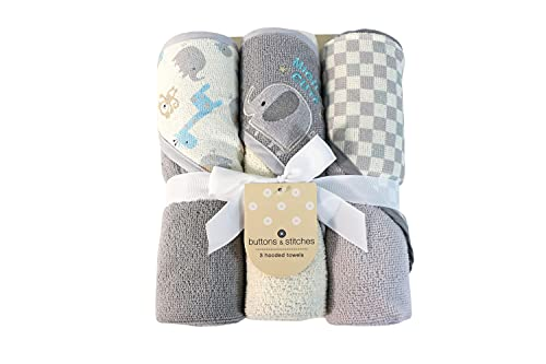 Cudlie Buttons & Stitches Baby Boy 3 Pack Rolled/Carded Hooded Towels in Mighty Cute Print (GS71725)