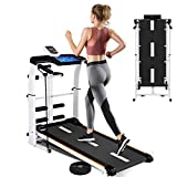 4-in-1 Foldable Treadmill, Running Machine for Small Space, Mechanical Compact & Inclined Jogging Walking Machine with T-wist Waist Plate, Belt, Draw Rope, Tablet Stand for Home Gym Office Cardio