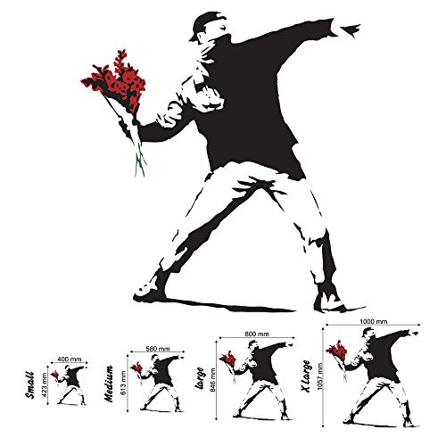 Wondrous Wall Art Banksy Flower Thrower - Adhesivo Decorativo para Pared para salón, Sala de Estar o Dormitorio, Negro, Medium