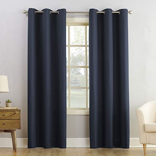 """No. 918 Montego Casual Textured Grommet Curtain Panel, 48"""" x 84"""", Navy Blue"""