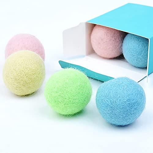 MCTY 4 Stück/Set niedlicher lustiger Katzenspielzeugball mit integrierter Glocke, 4 cm Filzball, interaktives Spielzeug für Katzen