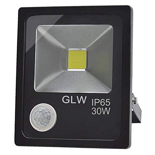 GLW Faretto Esterno 50W Faro LED con Sensore di Movimento, Bianco Freddo 6000K, Impermeabile IP65, Faretto LED Esterno, Senza Spina