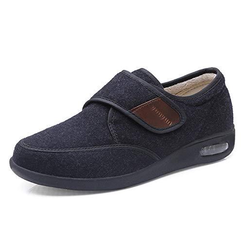 B/H Zapatos para diabéticos,Zapatos Ajustables de Mediana Edad y Ancianos, Zapatos Deportivos Antideslizantes con colchón de Aire-Negro_47,pies Planos hinchados Zapatos