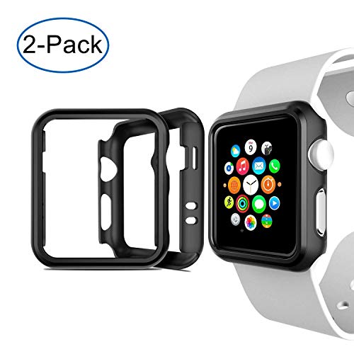 Cozycase Cover Apple Watch Series 2&3, 42mm Custodia Antiurto Protettiva Compatibile con Apple Watch Series Nero, 2-Pack