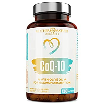 Coq10 - Coq10 100mg Softgels with Olive Oil f 120 Count  - Supports Cardiovascular Health and Cellular Energy - Non-GMO Sugar-Free Dairy-Free Soy-Free & Gluten-Free Co-q10 Ubiquinone