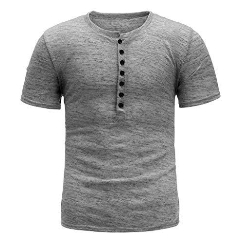 Tshirt Court T-Shirt Homme Blouse Top Hommes Été Nouveau Bouton Pur Manches Courtes Mode Confortable (S,Gris)