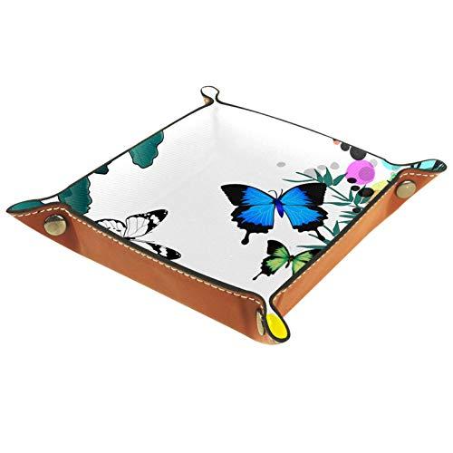 YATELI Caja de Almacenamiento pequeña, Bandeja de Valet para Hombre,Mariposa Loto Bambú Estilo Chino,Organizador de Cuero para Llaves de Caja de Monedas