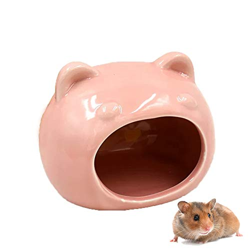 gutongyuan Small Pet Hideout Ceramic House Cute Cave for Chinchillas Hamster Golden Bear Chipmunk (Pink)