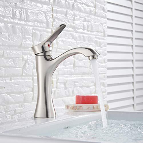 Rozin Waschtisch Armatur für Bad Gebürstetes Nickel Messing Einhebel Keramikventil Badezimmer Wasserhahn Kaltes und Heißes Wasser Waschtischarmaturen