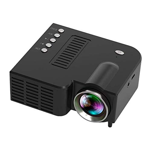 Mini Projector, Hpme Video Projector Outdoor Movie Projector, LED Portable Home Theater Projector 1080P Supported, Compatible with PS4, PC via HDMI, VGA, TF, AV and USB (Black)