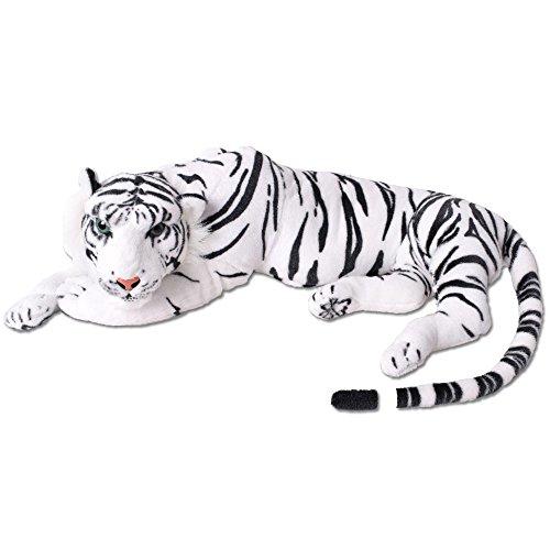 TE-Trend XL Tigre Gato Grande Peluche Animal 70cm Animal Blandito Blanco