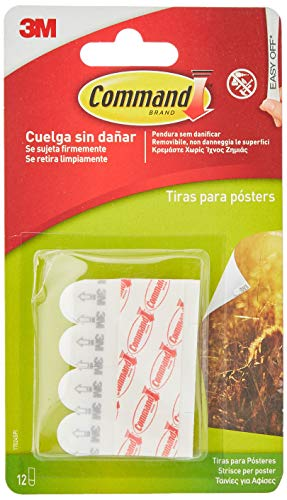 Command 17024 - Pack de 12 tiras pequeñas para posters, color blanco