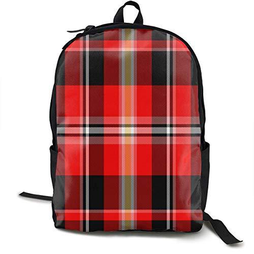Fashion Daypack Large Capacity Diebstahlschutz Mehrzweck-Bookbag Rucksack für Kletterarbeiten Fahrrad - Red Buffalo Plaid, Travel Hiking Backpack