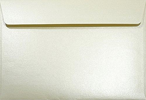 Netuno 100 Perlmutt- Creme DIN C5 Briefumschläge 120g, 162x229mm, Majestic Candelight Cream, gerade Klappe, ideal für Hochzeit, Geburtstag, Taufe,Weihnachten, Einladungen, Gelegenheitskarten