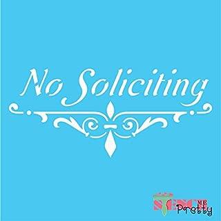 Standard Brilliant Blue Color Material Stencil - No Soliciting DIY Sign - Elegant Front Porch Design-XL (21