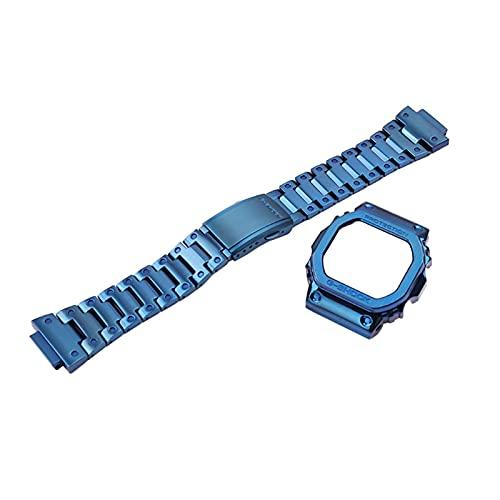 Flyuzi Caja de Reloj de Correa de Acero Inoxidable Accesorios para Hombres DW5600 DW5000 DW5030 DW5035 Pulsera de Metal Deportes al Aire Libre para Casio G-Shock