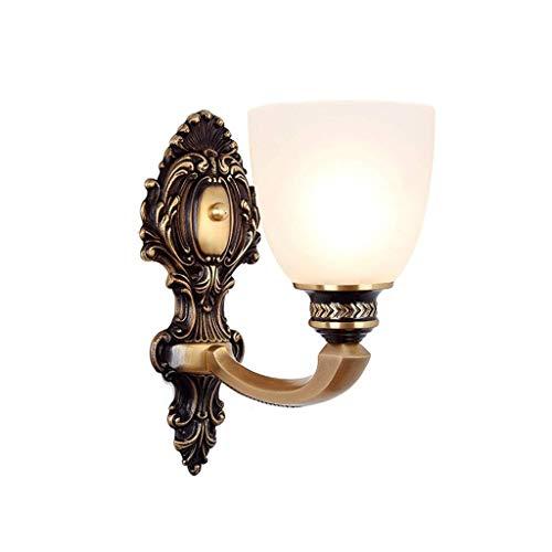 Aplique de pared clásico aplique Lámpara de pared, todos los apliques de cobre Lámpara de dormitorio retro Sala de estar simple Comedor Accesorios de iluminación de pared Aplique de pared de bajo cons