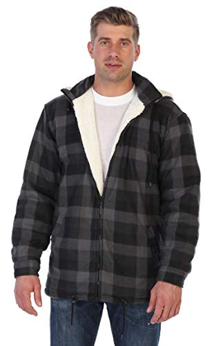 Gioberti Mens Sherpa Lined Flannel Jacket with Removable Hood, Charcoal Checkered, S