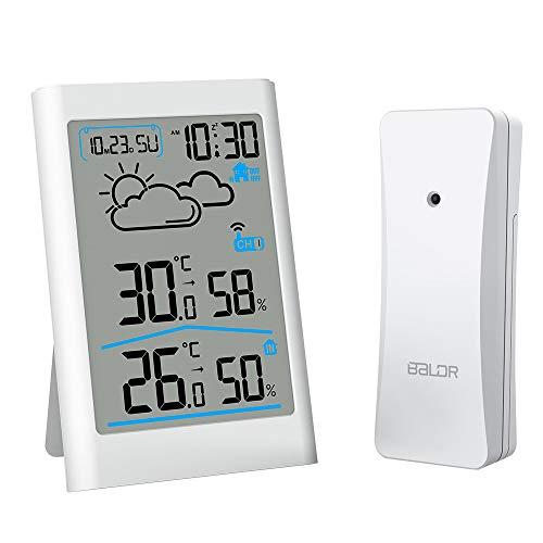 Ray Cue Funkwetterstation, digitales Wetterstationsradio mit Außensensor, digitales Thermometer Hygrometer Raumfeuchtigkeit im Freien mit Wettervorhersage, Uhr, Wecker und Nachtlicht (weiß)