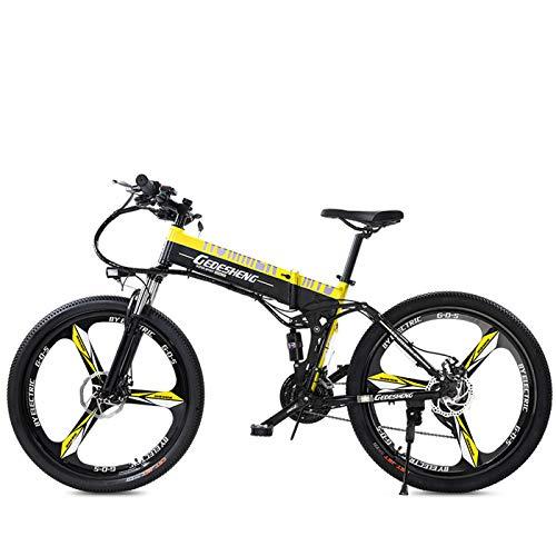 GTYW, Elettrico, Pieghevole, Bicicletta, Montagna, Bicicletta, Ciclomotore Adulto, 70 Km E 1 Km di Ricarica Gratuita Due Versioni,Yellow-60-70km